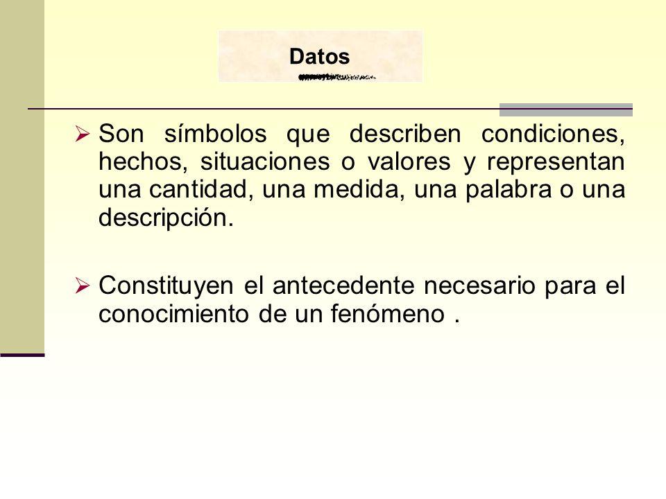 DatosSon símbolos que describen condiciones, hechos, situaciones o valores y representan una cantidad, una medida, una palabra o una descripción.