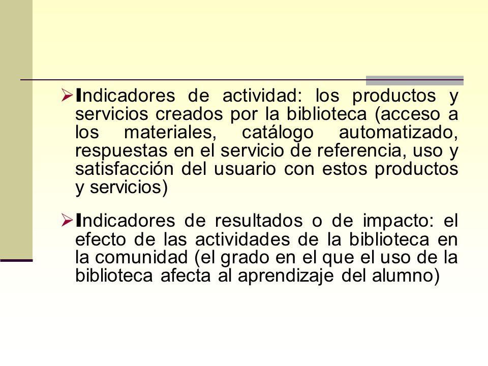 Indicadores de actividad: los productos y servicios creados por la biblioteca (acceso a los materiales, catálogo automatizado, respuestas en el servicio de referencia, uso y satisfacción del usuario con estos productos y servicios)