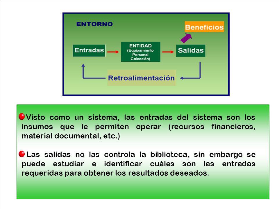 Visto como un sistema, las entradas del sistema son los insumos que le permiten operar (recursos financieros, material documental, etc.)