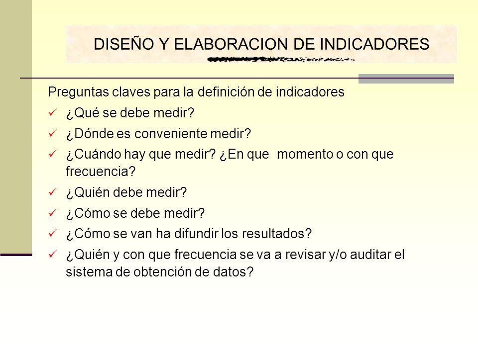 DISEÑO Y ELABORACION DE INDICADORES