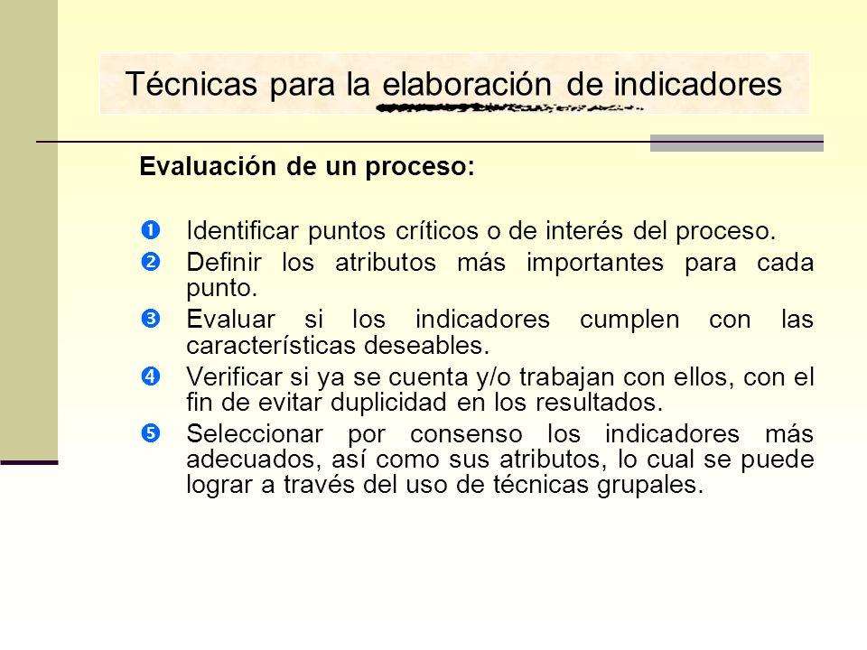 Técnicas para la elaboración de indicadores