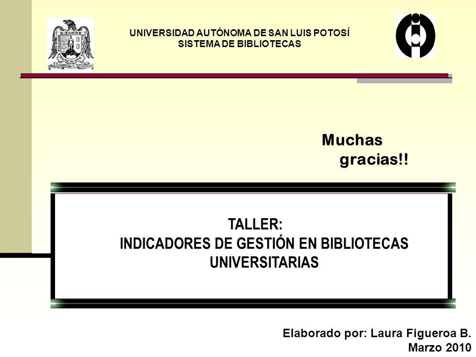 TALLER: INDICADORES DE GESTIÓN EN BIBLIOTECAS UNIVERSITARIAS