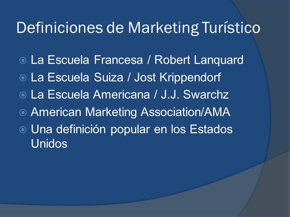Definiciones de Marketing Turístico