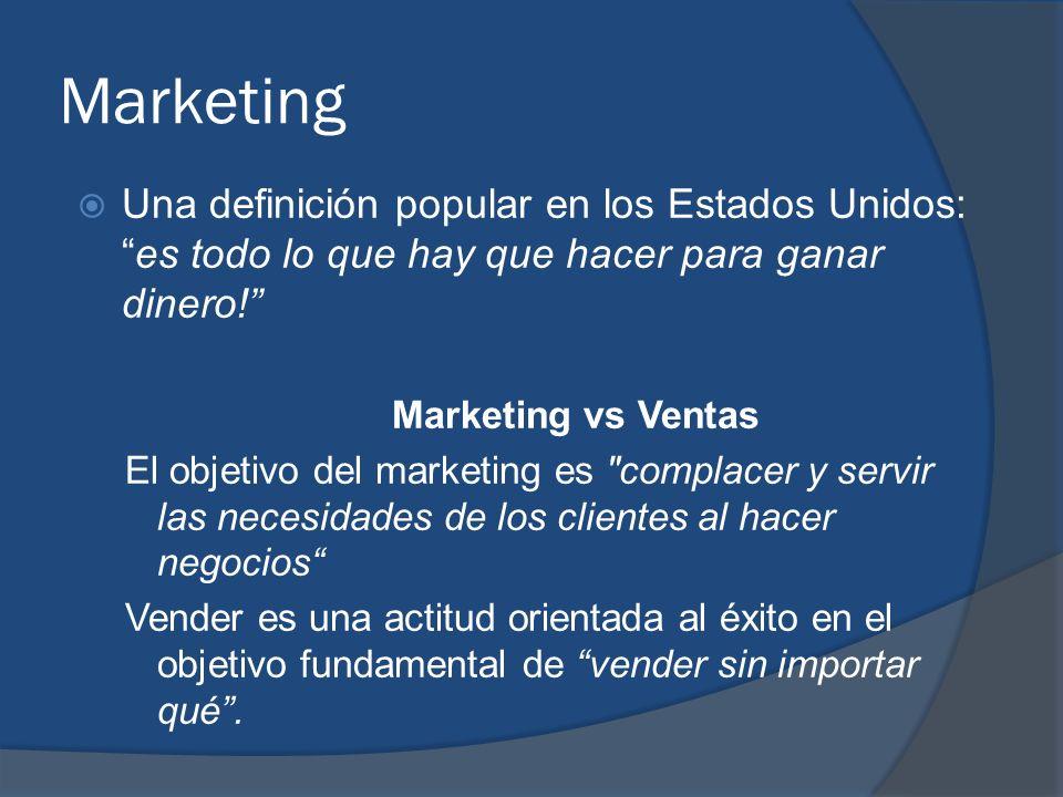 Marketing Una definición popular en los Estados Unidos: es todo lo que hay que hacer para ganar dinero!