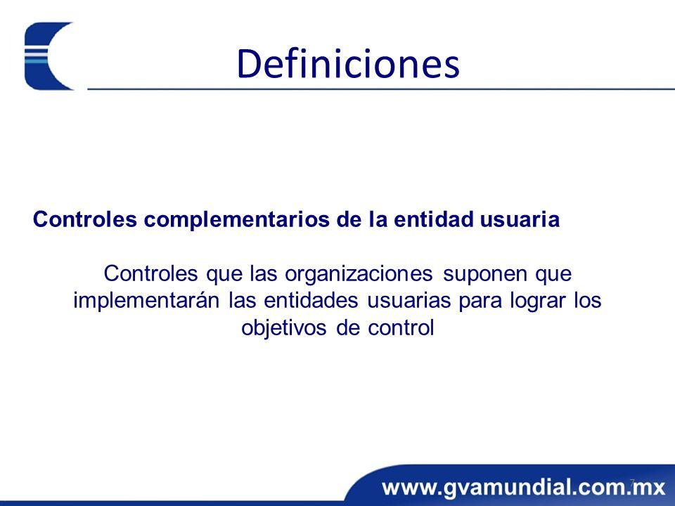 Definiciones Controles complementarios de la entidad usuaria