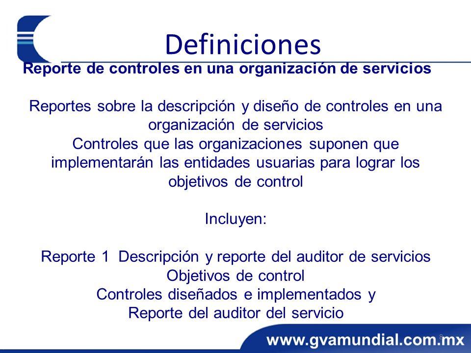 Definiciones Reporte de controles en una organización de servicios