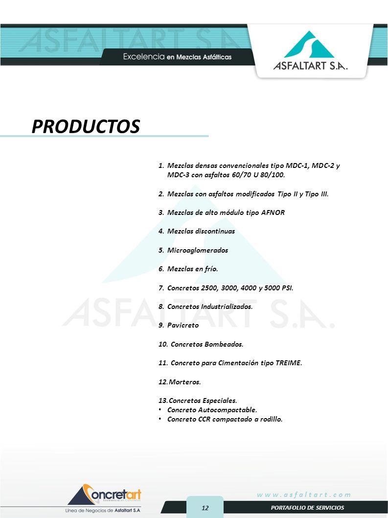 PRODUCTOS Mezclas densas convencionales tipo MDC-1, MDC-2 y MDC-3 con asfaltos 60/70 U 80/100. Mezclas con asfaltos modificados Tipo II y Tipo III.