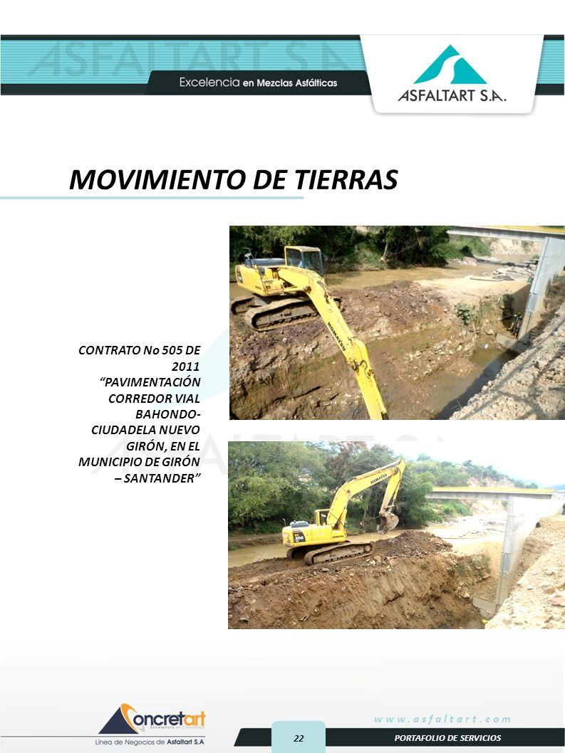 MOVIMIENTO DE TIERRAS CONTRATO No 505 DE 2011 PAVIMENTACIÓN CORREDOR VIAL BAHONDO-CIUDADELA NUEVO GIRÓN, EN EL MUNICIPIO DE GIRÓN – SANTANDER