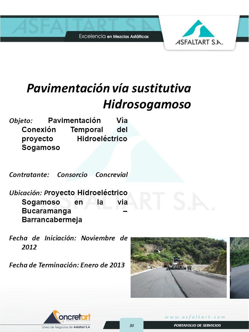 Pavimentación vía sustitutiva Hidrosogamoso