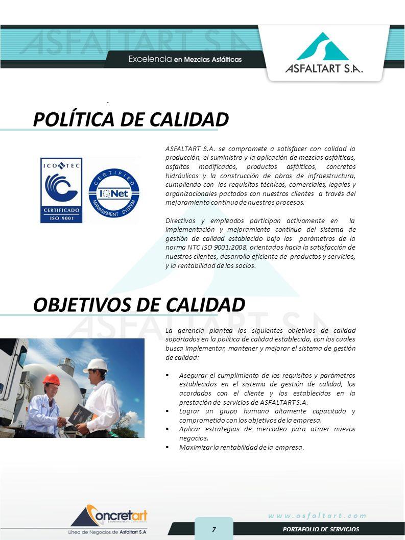 POLÍTICA DE CALIDAD OBJETIVOS DE CALIDAD .