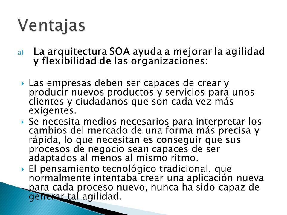 VentajasLa arquitectura SOA ayuda a mejorar la agilidad y flexibilidad de las organizaciones:
