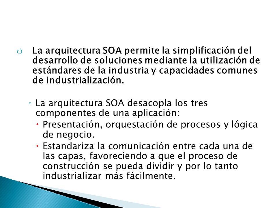 La arquitectura SOA permite la simplificación del desarrollo de soluciones mediante la utilización de estándares de la industria y capacidades comunes de industrialización.