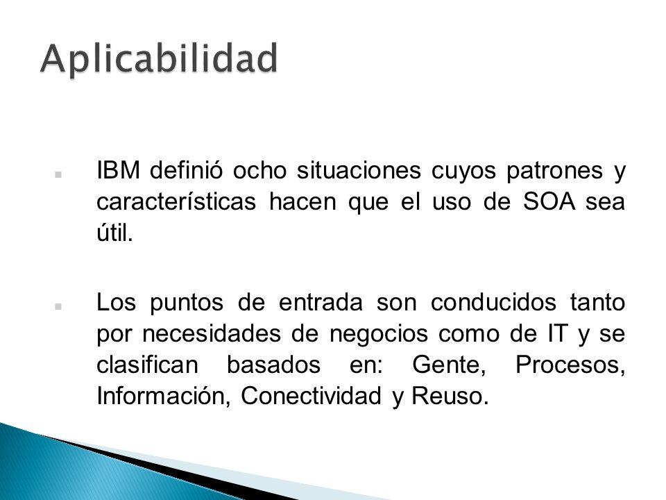 Aplicabilidad IBM definió ocho situaciones cuyos patrones y características hacen que el uso de SOA sea útil.