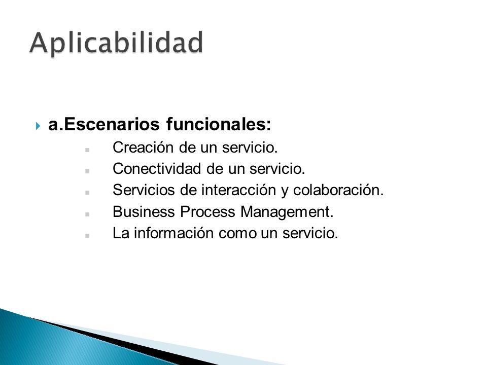 Aplicabilidad a. Escenarios funcionales: Creación de un servicio.