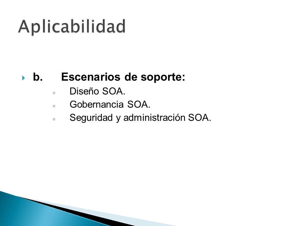 Aplicabilidad b. Escenarios de soporte: Diseño SOA. Gobernancia SOA.