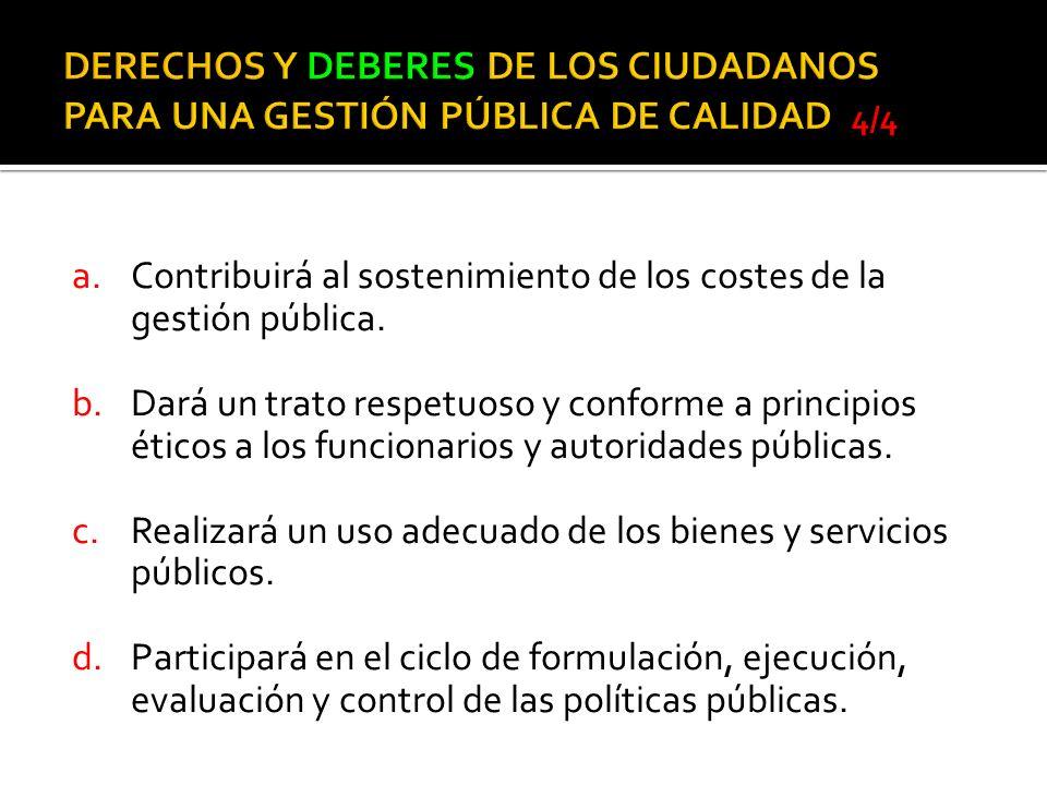 DERECHOS Y DEBERES DE LOS CIUDADANOS PARA UNA GESTIÓN PÚBLICA DE CALIDAD 4/4