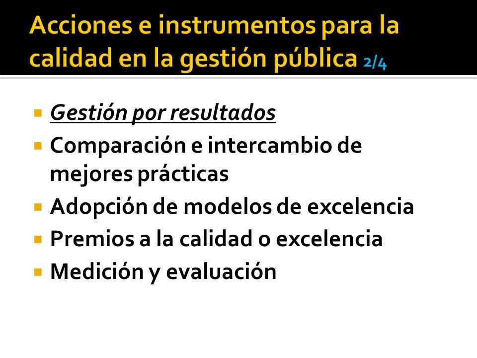 Acciones e instrumentos para la calidad en la gestión pública 2/4