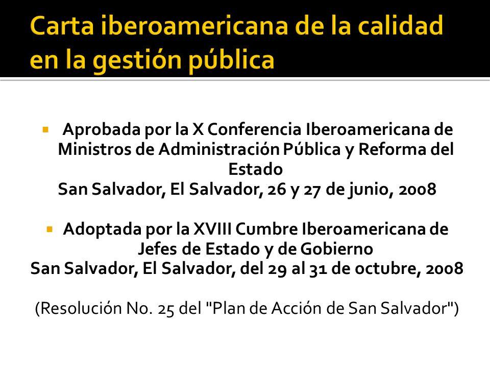 Carta iberoamericana de la calidad en la gestión pública