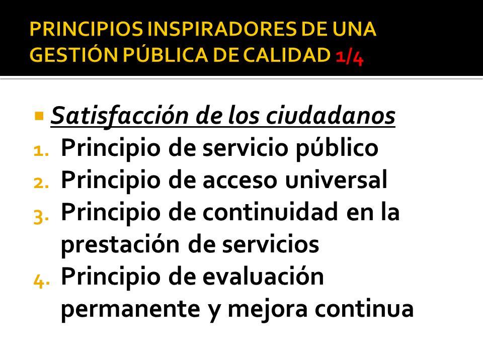 PRINCIPIOS INSPIRADORES DE UNA GESTIÓN PÚBLICA DE CALIDAD 1/4
