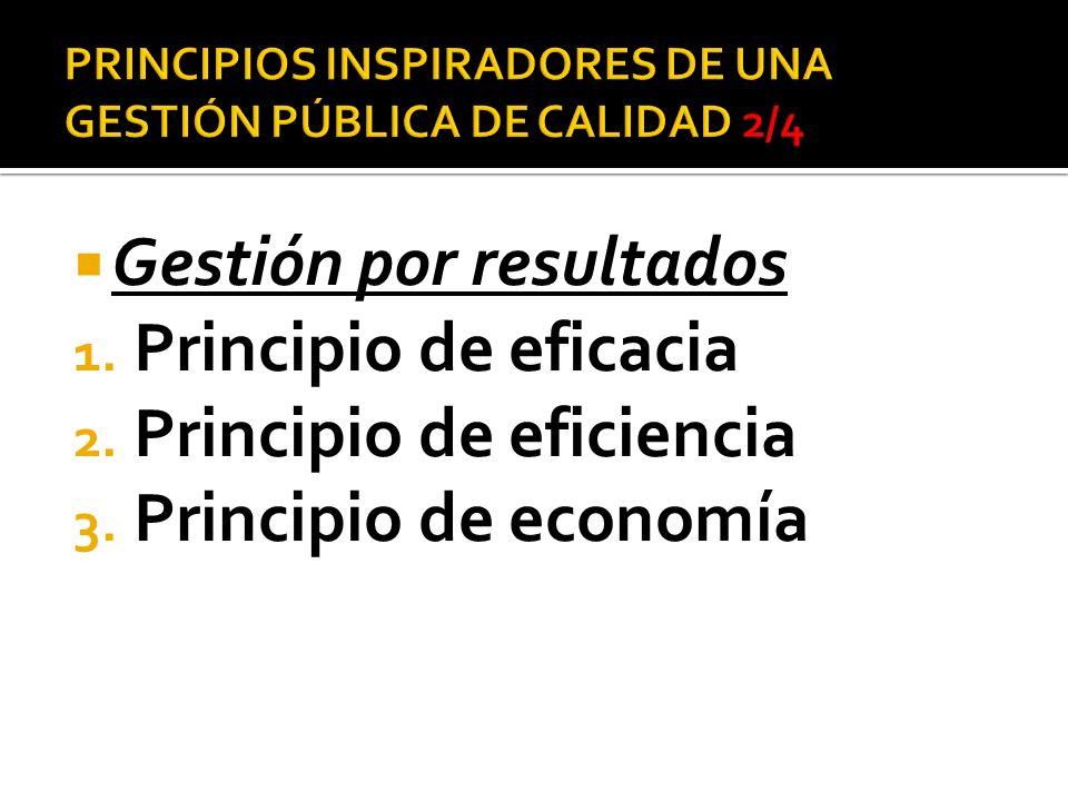 PRINCIPIOS INSPIRADORES DE UNA GESTIÓN PÚBLICA DE CALIDAD 2/4