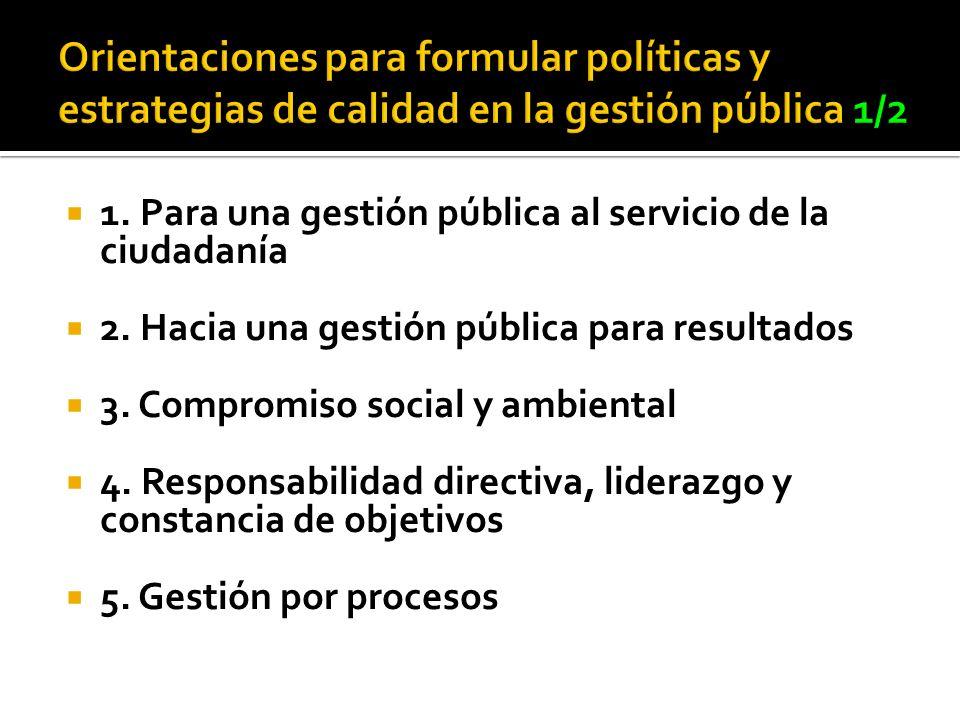 Orientaciones para formular políticas y estrategias de calidad en la gestión pública 1/2