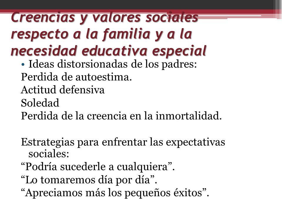 Creencias y valores sociales respecto a la familia y a la necesidad educativa especial
