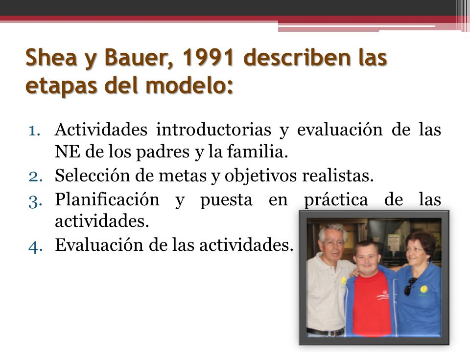 Shea y Bauer, 1991 describen las etapas del modelo: