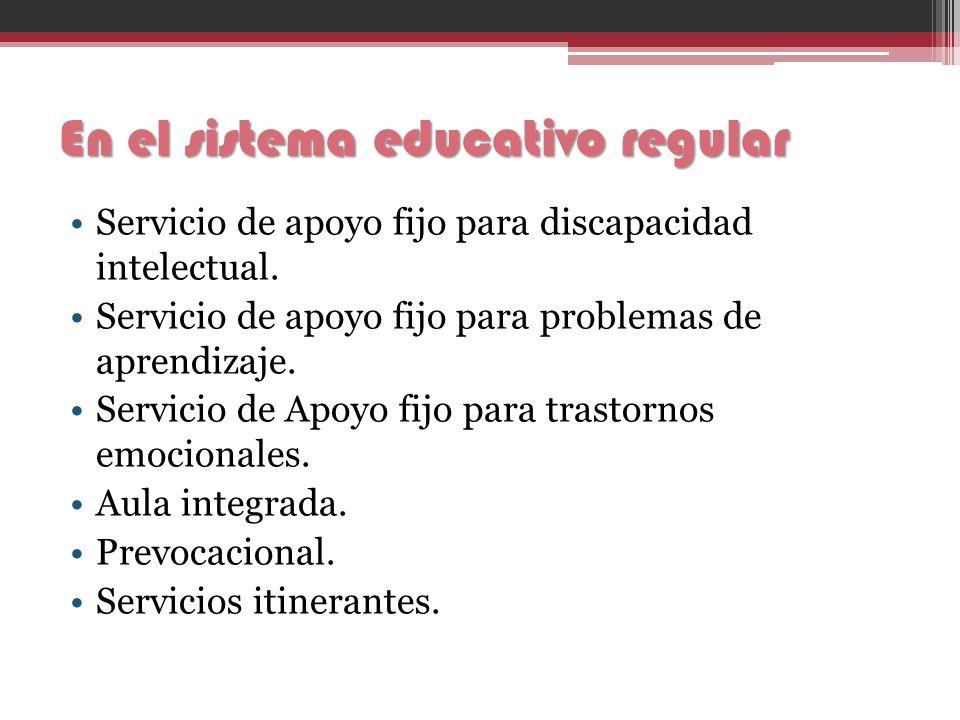 En el sistema educativo regular