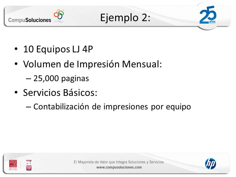 Ejemplo 2: 10 Equipos LJ 4P Volumen de Impresión Mensual: