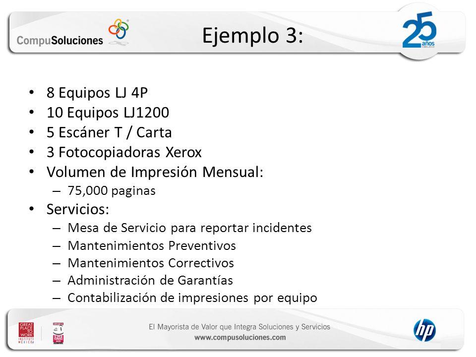 Ejemplo 3: 8 Equipos LJ 4P 10 Equipos LJ1200 5 Escáner T / Carta