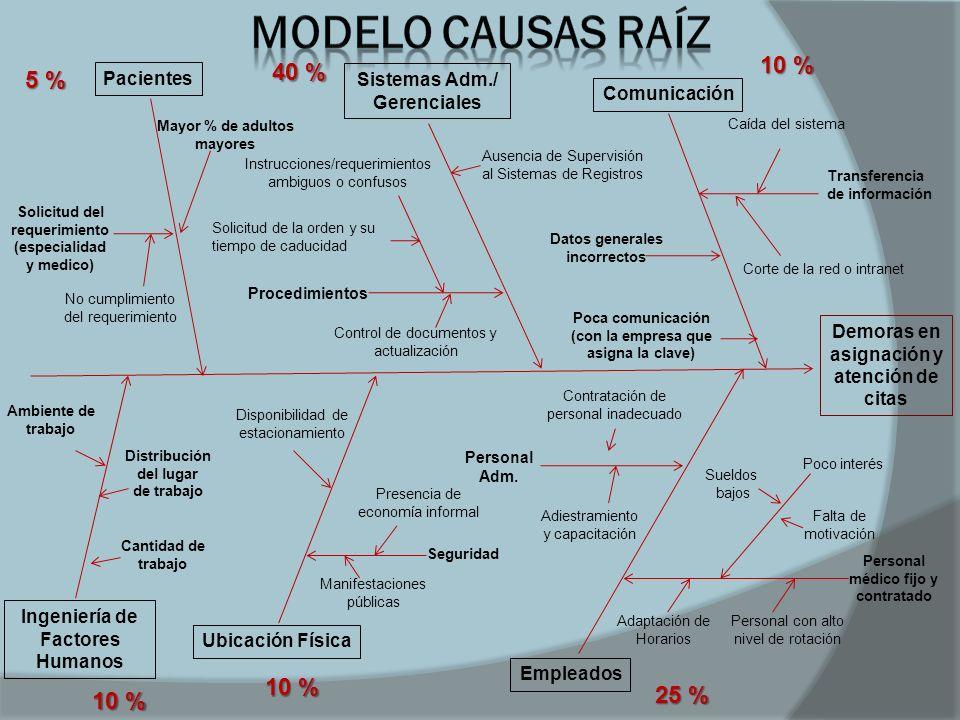 Modelo Causas Raíz 10 % 40 % 5 % 10 % 25 % 10 % Pacientes