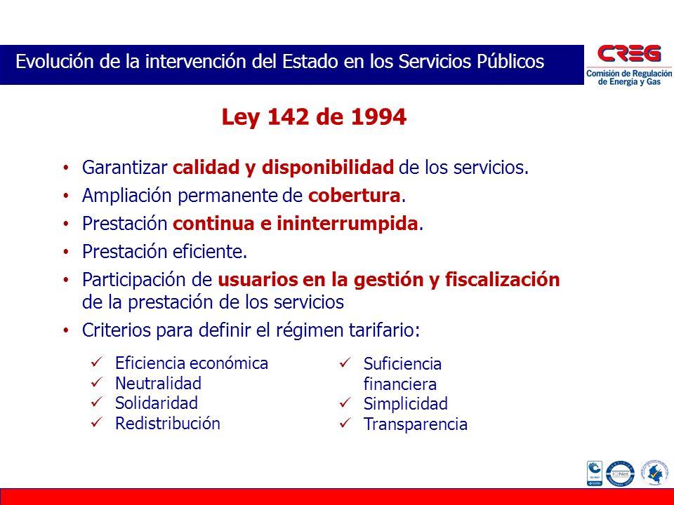 Evolución de la intervención del Estado en los Servicios Públicos