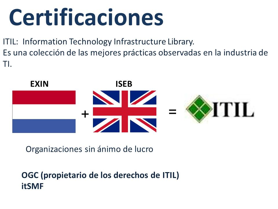 Certificaciones ITIL: Information Technology Infrastructure Library.