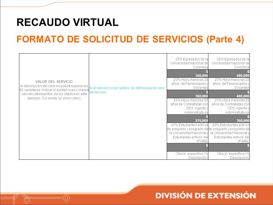 RECAUDO VIRTUAL FORMATO DE SOLICITUD DE SERVICIOS (Parte 4)