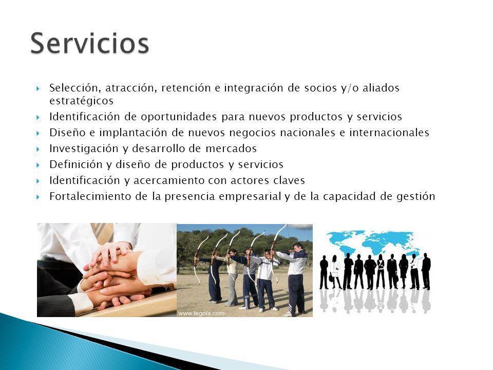 Servicios Selección, atracción, retención e integración de socios y/o aliados estratégicos.