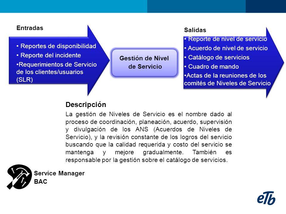 Descripción Entradas Salidas Reporte de nivel de servicio