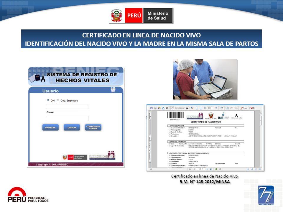 Certificado en línea de Nacido Vivo