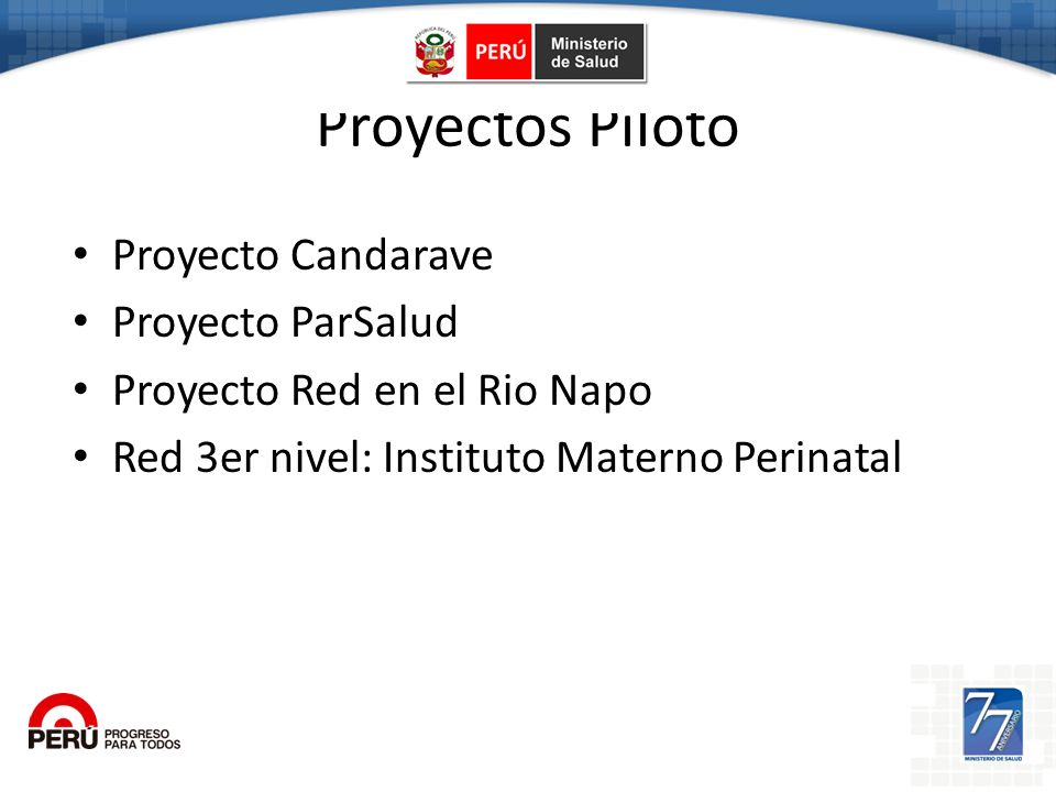 Proyectos Piloto Proyecto Candarave Proyecto ParSalud