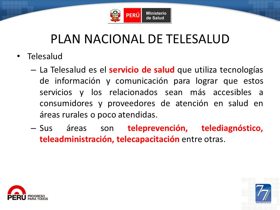 PLAN NACIONAL DE TELESALUD