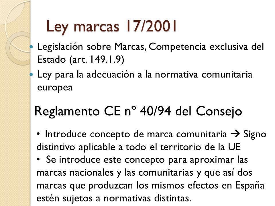 Ley marcas 17/2001 Reglamento CE nº 40/94 del Consejo