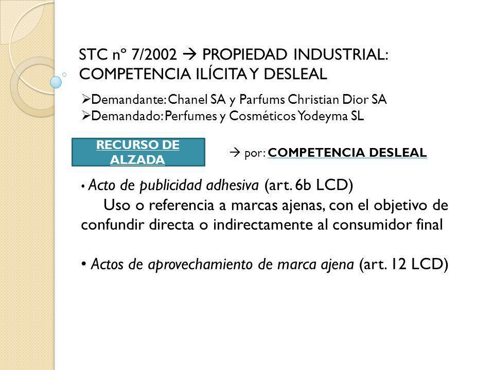 STC nº 7/2002  PROPIEDAD INDUSTRIAL: COMPETENCIA ILÍCITA Y DESLEAL