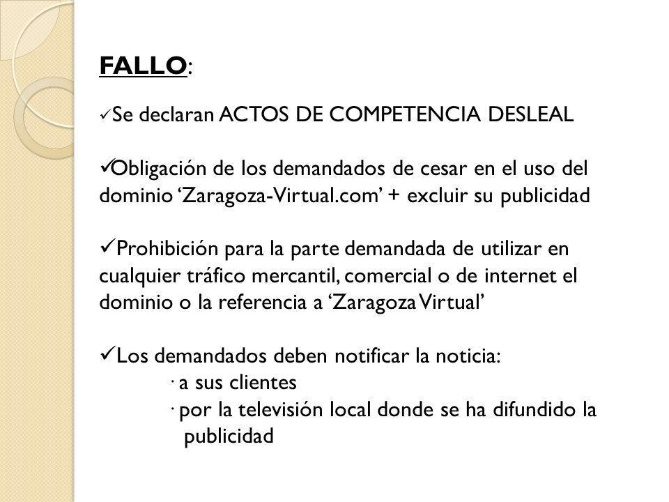 FALLO: Se declaran ACTOS DE COMPETENCIA DESLEAL.