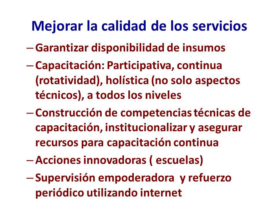 Mejorar la calidad de los servicios