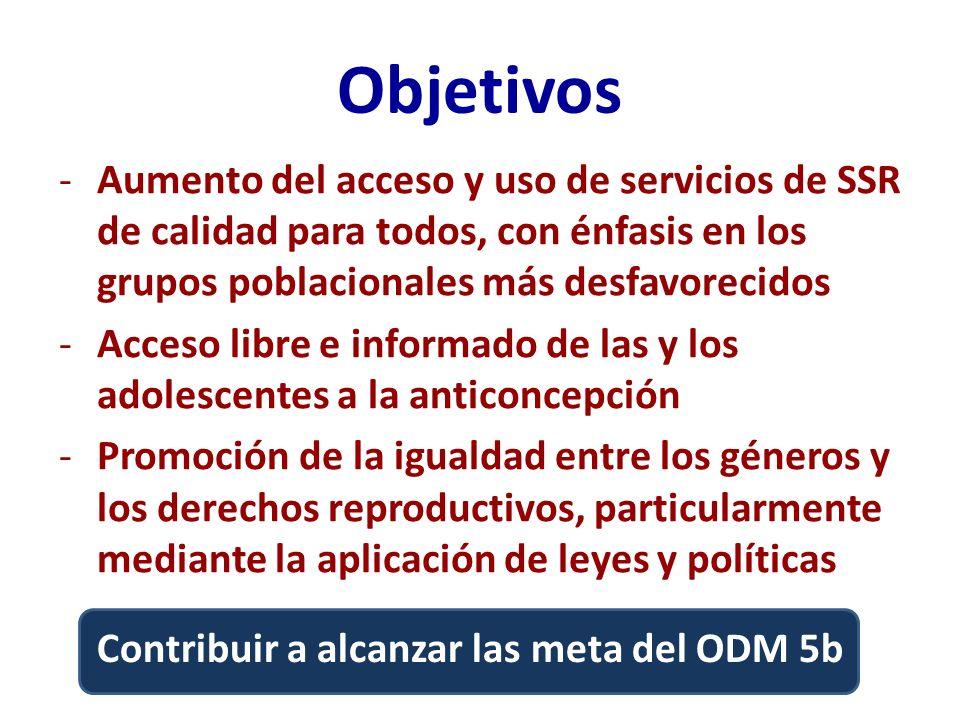 ObjetivosAumento del acceso y uso de servicios de SSR de calidad para todos, con énfasis en los grupos poblacionales más desfavorecidos.