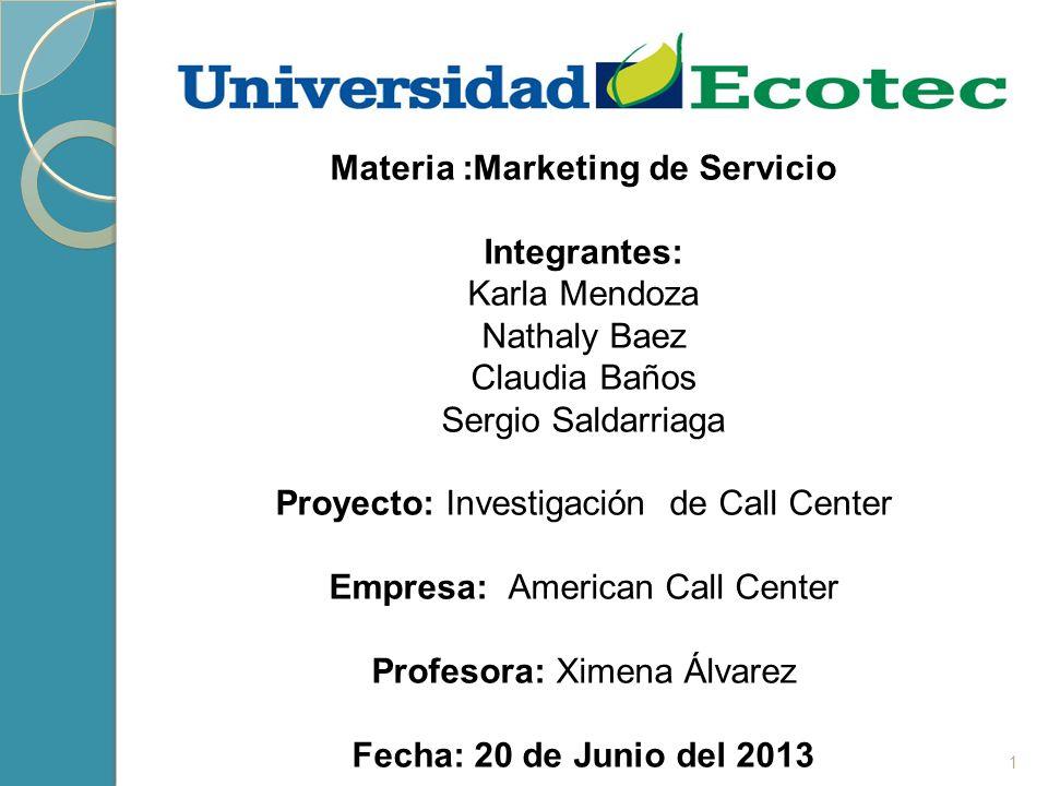 Materia :Marketing de Servicio