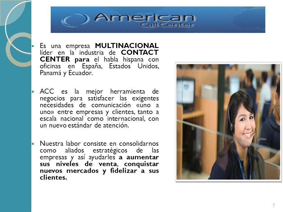 Es una empresa MULTINACIONAL líder en la industria de CONTACT CENTER para el habla hispana con oficinas en España, Estados Unidos, Panamá y Ecuador.