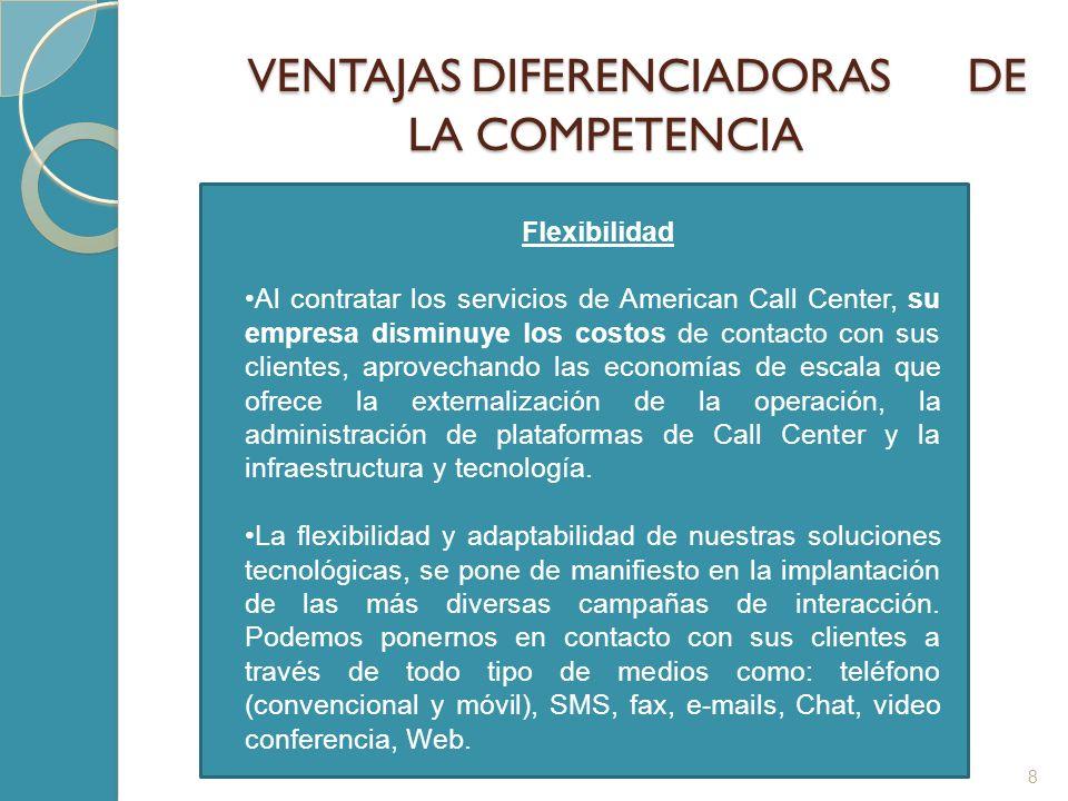 VENTAJAS DIFERENCIADORAS DE LA COMPETENCIA