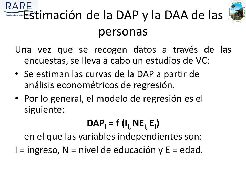 Estimación de la DAP y la DAA de las personas