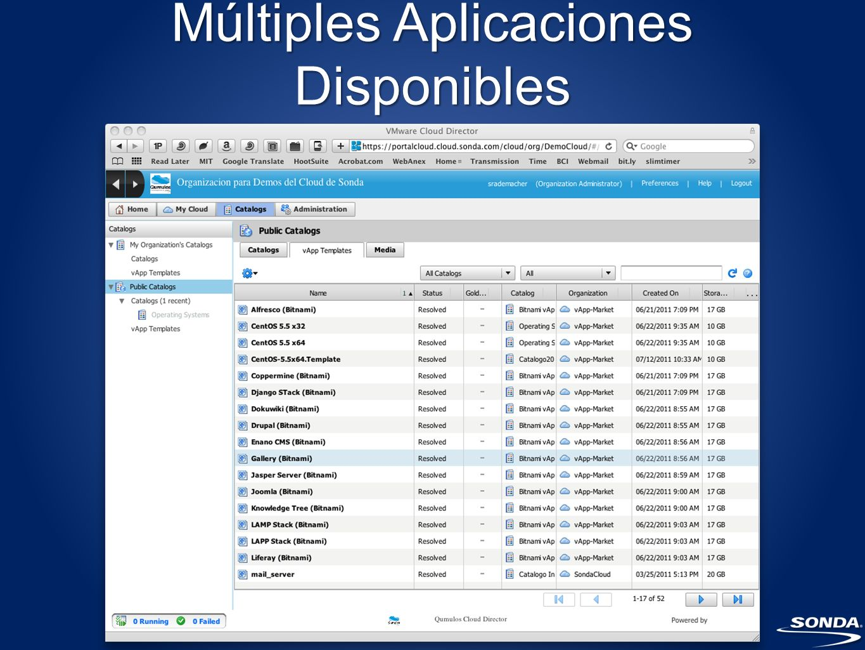 Múltiples Aplicaciones Disponibles