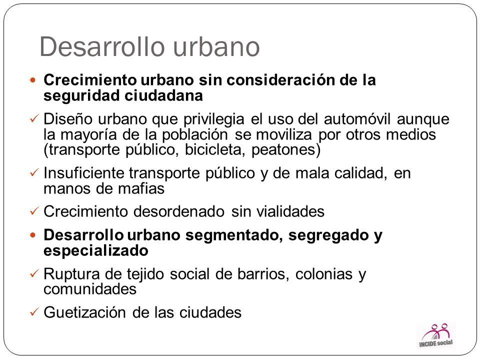 Desarrollo urbano Crecimiento urbano sin consideración de la seguridad ciudadana.